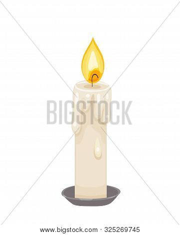Burning Paraffin Candle. Vector Icon Of Fire On Cadle With Wax Drips Isolated On White Background