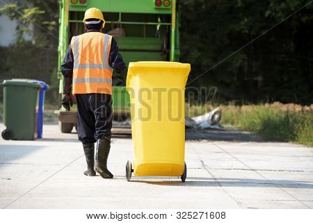 Men Who Dispose Of Rubbish That Works For Public Benefit, Empty Trash Container Of The Thai Public H