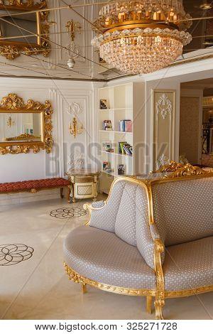 Antalya, Turkey - September 12, 2019: Luxury Interior Of Reading Room. Carved Furniture