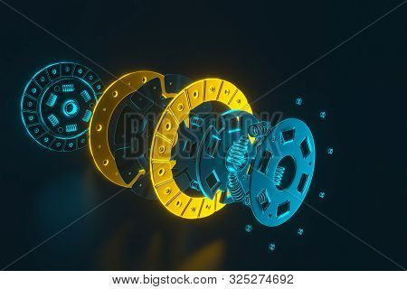 3d Rendering. Spare Parts For Car And Truck Clutch Disk. Auto Parts For Transmission. Separate Image