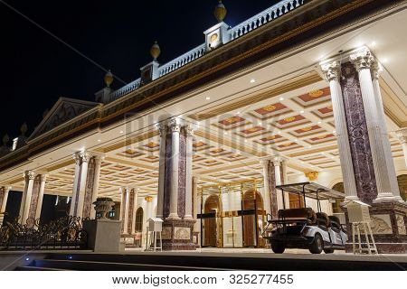 Antalya, Turkey - September 12, 2019: Titanic Mardan Palace With Fountains At Hight, The Most Expens