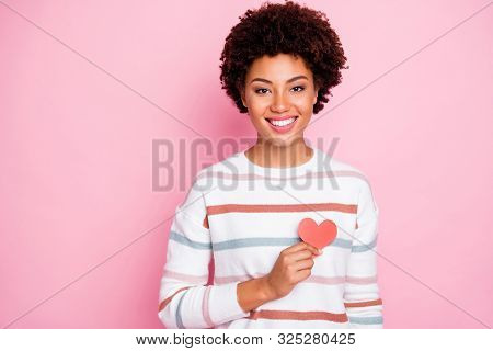 Photo Of Toothy Fascinating Cute Charming Nice Black Youngster Showing Her Love Heart Red Shape Smil