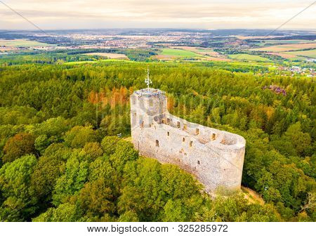 Aerial view to The Radyne Castle ruins from 13th century. Famous gothic monument near Pilsen in Western Bohemia. Czech Republic, Central Europe.