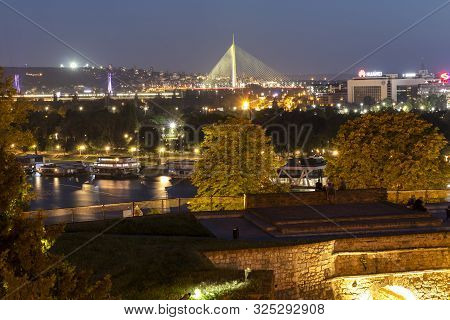 Belgrade, Serbia - November 10, 2018: Night Photo Of Belgrade Fortress, Kalemegdan Park, Sava And Da