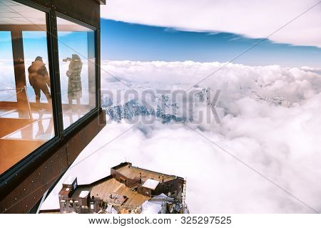 Chamonix, France - 4 April2019- Panoramic Cube At Aiguille Du Midi Mountain In The Mont Blanc Massif