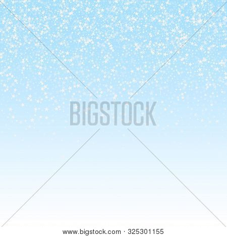 Amazing Falling Stars Christmas Background. Subtle Flying Snow Flakes And Stars On Winter Sky Backgr
