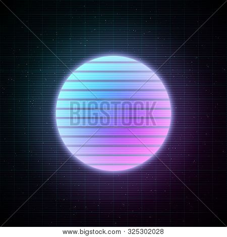 Retrowave Style Striped Sun With Blue And Pink Glowing In Starry Space With Laser Grid. Vaporwave, S