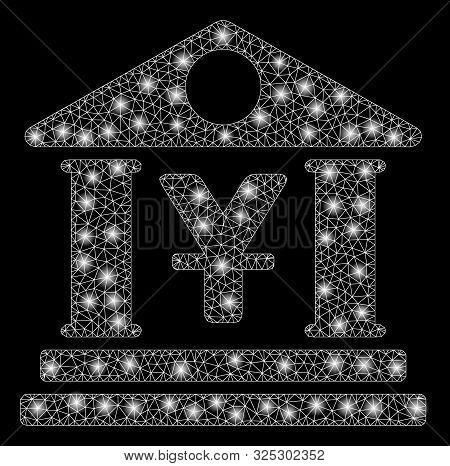 Glowing Mesh Yen Bank Building With Sparkle Effect. Abstract Illuminated Model Of Yen Bank Building