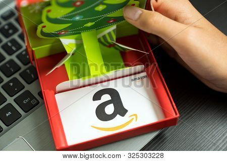 Detroit, Usa - Sep 29, 2019 : White Color Amazon Gift Card In Red Box On Laptop Keyboard As A Christ