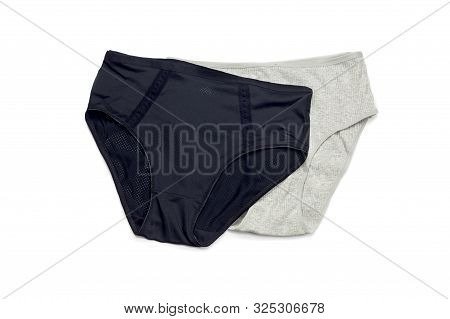 Female, New, Modern Panties Black And Gray Color On A White Background Close-up