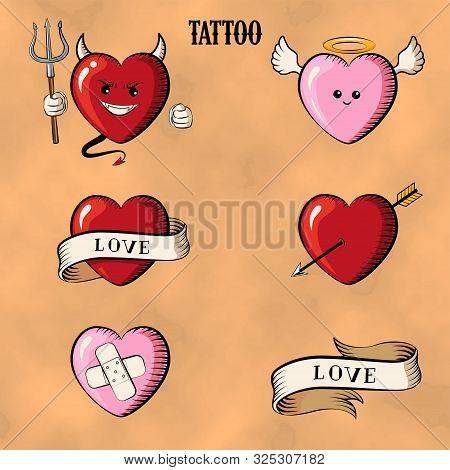 Set Tattoo Heards. Isolated Tattoo Hearts: Devil, Angel, Heart With Arrow. Old School