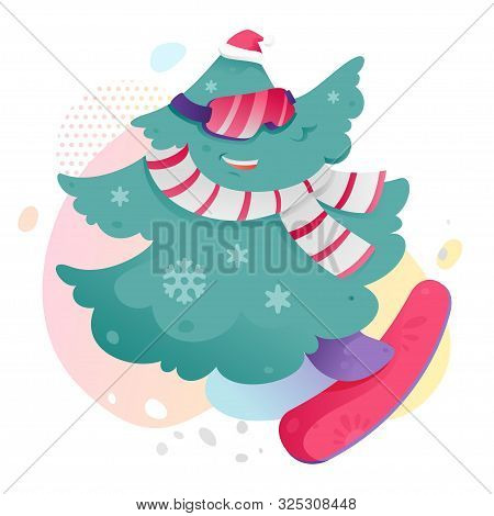 Christmas Tree On Snowboard Vector Illustration. Funny Christmas Tree Character In Scarf, Glasses An