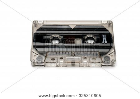 Vintage Compact Audio Tapes For Magnetic Recording On An Isolated White Background.compact Cassette