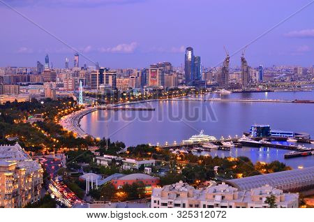 1 October 2019.baku.panorama Of Night Baku With A View From The Boulevard.azerbaijan