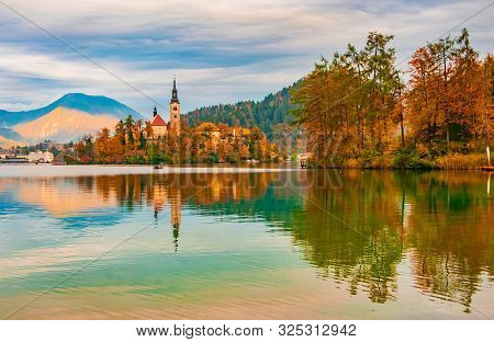 Picturesque Autumn Scenery Of Lake Bled, Slovenia
