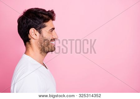 Profile Side Photo Of Positive Cheerful Middle Eastern Man Have Weeknds Enjoy Fun Listen To His Frie