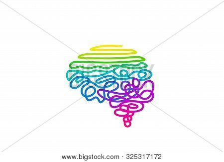 Tangled Rainbow Colored Wire In Brain Shape Vector Illustration. Abstract Cerebrum Color Spectrum Ro