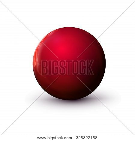 Red Delicious Glossy Sphere, Polished Ball. Mock Up Of Clean Round The Realistic Object, Glassy Orb
