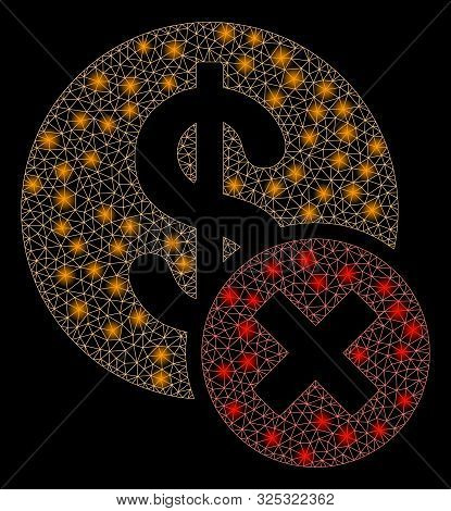 Flare Mesh Wrong Dollar With Glitter Effect. Abstract Illuminated Model Of Wrong Dollar Icon. Shiny