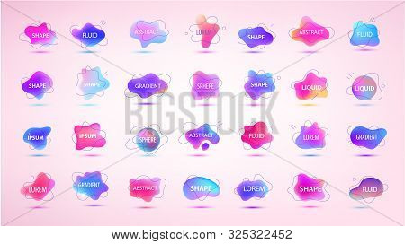 Vector 3d Gradient Spots Set With Line Shapes Isolated. Abstract Elements For Trendy Vibrant Color D
