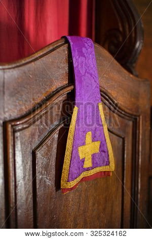 Typical Stole Decorated With A Gold Cross Used By The Priest During The Mass And The Sacraments