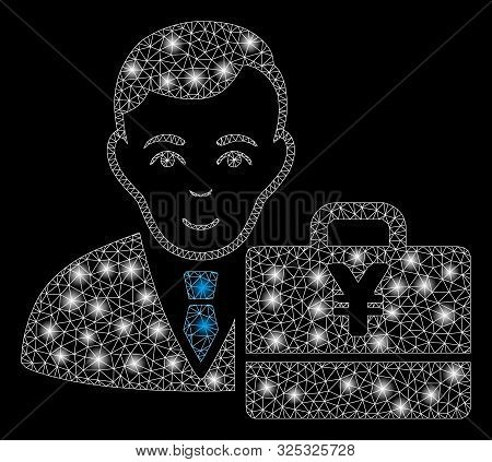 Glossy Mesh Yen Accounter With Glare Effect. Abstract Illuminated Model Of Yen Accounter Icon. Shiny