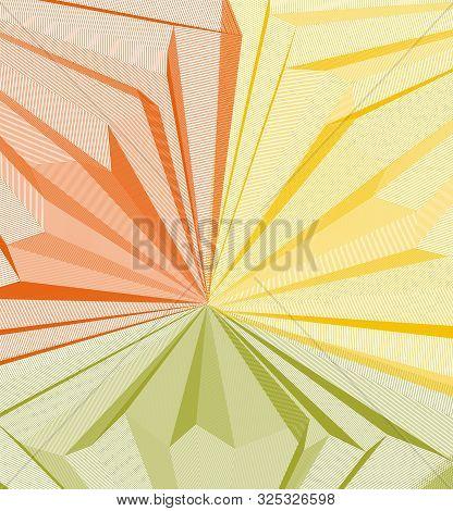 Vector Surreal Illusion Art For Design, Line Art 3d Dimensional Textured Inner Space, Hallucinogen D