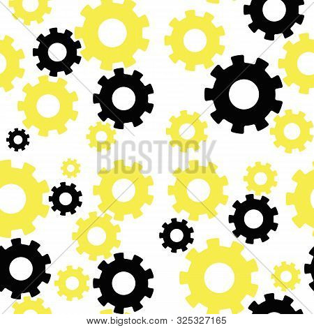 Color Pattern With Gears And Pinions Vector Illustration