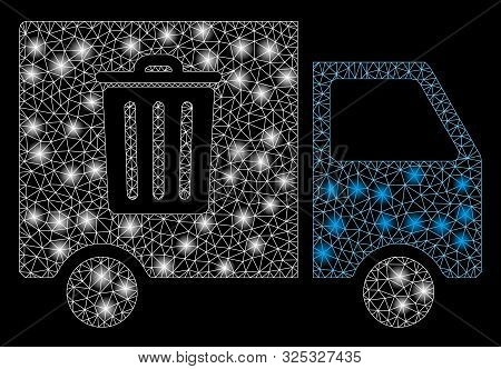 Glowing Mesh Rubbish Transport Van With Glare Effect. Abstract Illuminated Model Of Rubbish Transpor