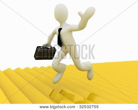3d businessman running along the golden forest to Success