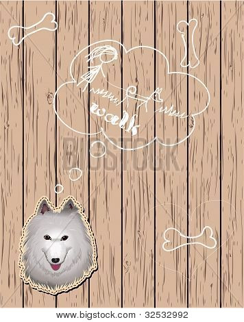 Wooden card with dreaming dog. Vector eps10 poster