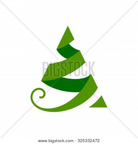 Christmas Tree Single Flat Icon. Xmas, New Year Simple Sign In Cartoon Style. Winter Pictogram Symbo