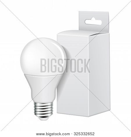 Electric Led Light Bulb With White Cartboard Packing