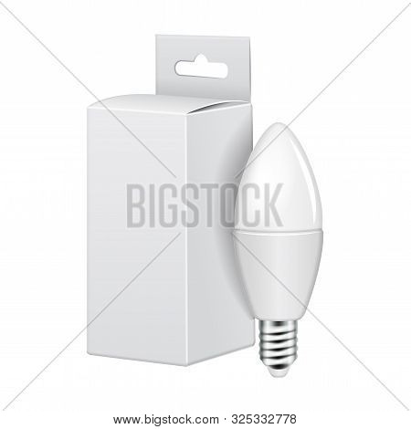 Led Light Bulb With White Cartboard Package. Electric Bulb