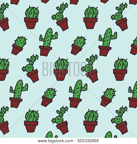 Handdrawing In Doodle Shape Of Cactus Background