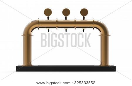 Draft Beer Tower Pump Render With Handle And Dispenser. Equipment For Bar Realistic 3d Illustration