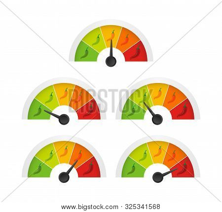 Hot Red Pepper Strength Scale Indicator With Mild, Medium, Hot And Hell Positions. Vector Illustrati
