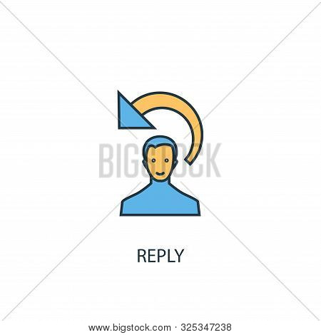 Reply Concept 2 Colored Line Icon. Simple Yellow And Blue Element Illustration. Reply Concept Outlin