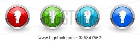 Bulb silver metallic glossy icons, set of modern design buttons for web, internet and mobile applications in four colors options isolated on white background