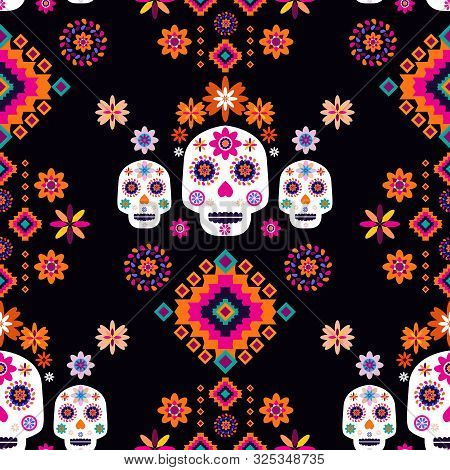 Mexican Seamless Pattern,sugar Skulls And Colorful Flowers. Template  For Mexican Celebration, Tradi
