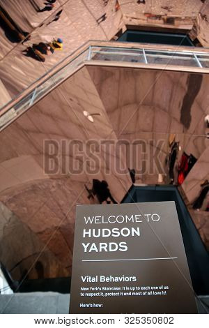 New York City, Usa - May 03, 2019: Hudson Yard Sign - The Vessel, Also Known As The Hudson Yards Sta