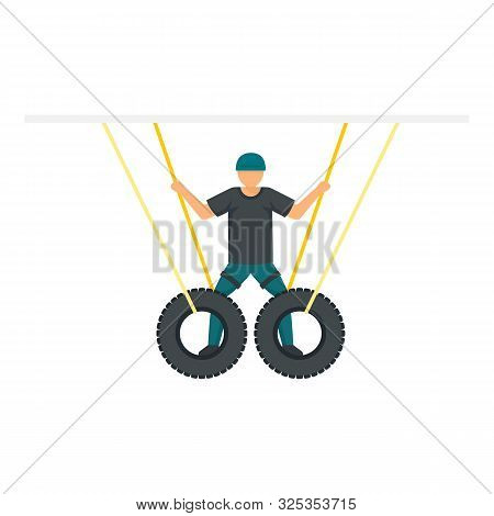 Man Zip Line Tires Icon. Flat Illustration Of Man Zip Line Tires Vector Icon For Web Design