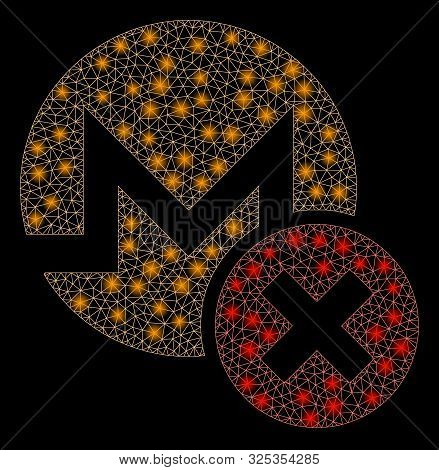 Glossy Mesh Wrong Monero With Sparkle Effect. Abstract Illuminated Model Of Wrong Monero Icon. Shiny