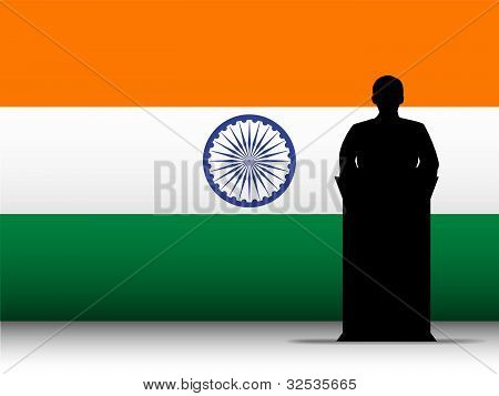 Vector - India Speech Tribune Silhouette with Flag Background poster