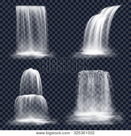 Set Of Isolated Waterfall On Transparent Background. Falling River Water Or Mountain Fall, Cascade A