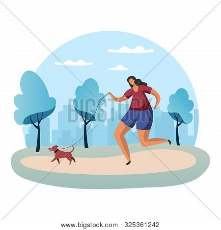 Sportswoman Running With Dog On Lead Or Woman In Park Jogging With Snood. Scamper Of Female Or Outdo