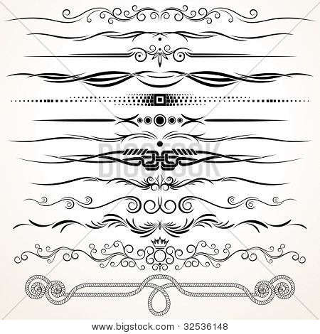 Ornamental Rule Lines. Decorative Design Elements