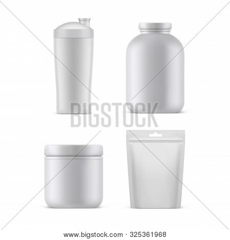 Sport Nutrition Supplements Containers And Packages, Vector Realistic White Blank 3d Mockup Template
