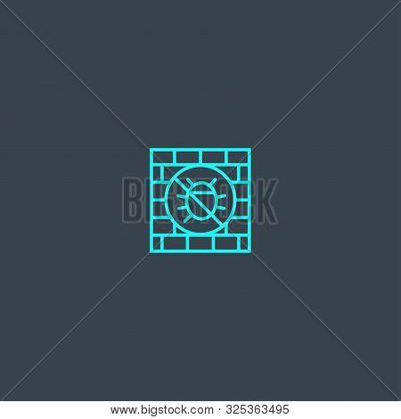 Antivirus Firewall Concept Blue Line Icon. Simple Thin Element On Dark Background. Antivirus Firewal