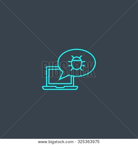 Adware Concept Blue Line Icon. Simple Thin Element On Dark Background. Adware Concept Outline Symbol